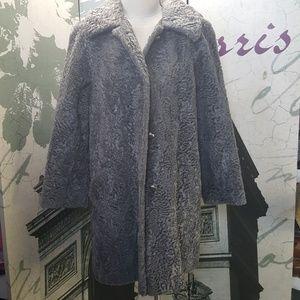 Vintage 60's Faux Fur Trenchcoat Size M